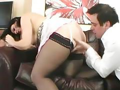 Classy English brunette MILF fucked on the couch